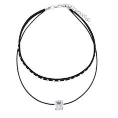 Fashionable Alloy Leather Rope Zircon With Zircon Women's Fashion Necklace (Sold in a single piece)