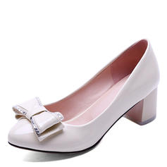 Women's Patent Leather Chunky Heel Pumps Closed Toe With Bowknot shoes