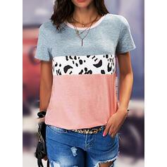 Leopardo Cuello Redondo Manga Corta Camisetas