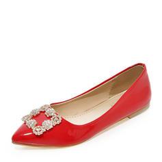 Femmes Cuir verni Talon plat Chaussures plates Bout fermé avec Strass chaussures