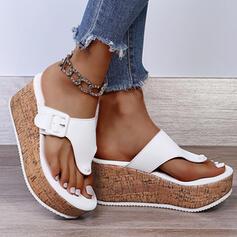 Dla kobiet Zamsz Obcas Koturnowy Sandały Koturny Kapcie Z Rzep obuwie