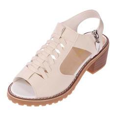 Femmes PU Talon bottier Sandales À bout ouvert avec Zip chaussures