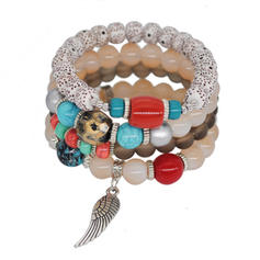 Mooi Legering Acryl Glazen Kralen Dames Fashion Armbanden