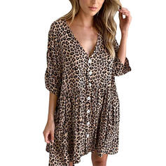 Leopard 3/4 Sleeves Shift Above Knee Casual Dresses