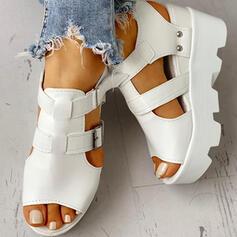 De mujer Ante Tipo de tacón Sandalias Cuñas Encaje con Hebilla zapatos