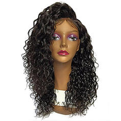 4A Non remy Kinky Curly Human Hair Lace Front Wigs (Sold in a single piece)