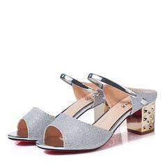 Women's PU Chunky Heel Sandals Peep Toe Slippers With Rhinestone Rivet shoes