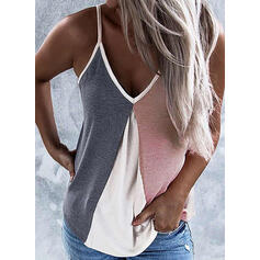 Color Block Spaghetti Strap Sleeveless Casual Sexy Tank Tops