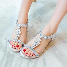 Femmes Similicuir Talon bottier Sandales À bout ouvert Escarpins avec Strass Élastique chaussures