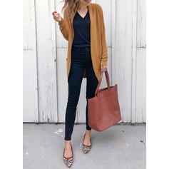 Solido Tasche Colore solido Cardigan