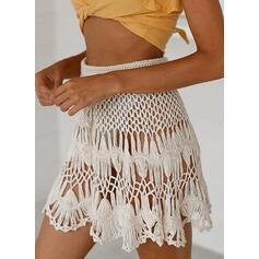Color Sólido Crochet Malla Sin Tirantes Boho Fondos Trajes de baño