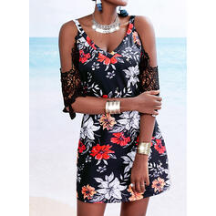 Lace/Print/Floral 1/2 Sleeves Shift Above Knee Casual/Vacation Tunic Dresses