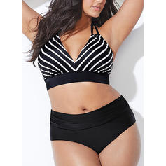 Stripe Halter Elegant Plus Size Bikinis Swimsuits