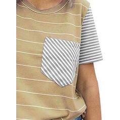 Rayado Cuello redondo Manga corta Casual Tejido De Punto camiseta