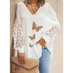 Animal Print V-Neck Lantern Sleeve Long Sleeves Casual Blouses