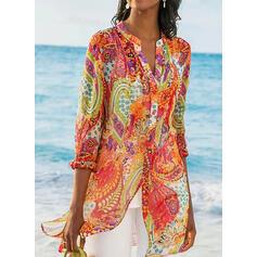Print V-Neck Long Sleeves Casual Shirt Blouses