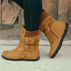 Women's PU Flat Heel Flats Boots Mid-Calf Boots Winter Boots With Buckle shoes
