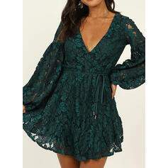 Lace/Solid Long Sleeves/Lantern Sleeve A-line Above Knee Party Dresses