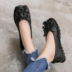 Femmes Vrai cuir Talon plat Chaussures plates Bout fermé avec Une fleur chaussures