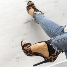 Kvinder PU Stiletto Hæl sandaler Pumps Kigge Tå med Animalske Udskriv sko