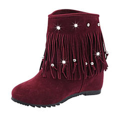 Femmes Suède Talon bas Bout fermé Bottes Bottines Bottes mi-mollets avec Tassel chaussures