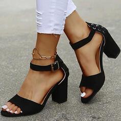 Bayanlar PU Tıknaz Topuk Sandalet Pompalar Peep Toe Düşük Üst Ile Toka Bağcıklı ayakkabı Katı Renk ayakkabı
