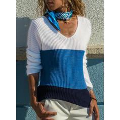 Blok Kolorów Dekolt w kształcie litery V Swetry