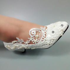 Vrouwen Kunstleer Kitten Hak Closed Toe met Stitching Lace