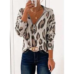 """leopard Výstřih do """"V"""" Dlouhé rukávy Neformální Bluze"""