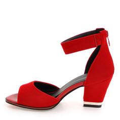 Women's Suede Chunky Heel Sandals Pumps Peep Toe With Zipper shoes