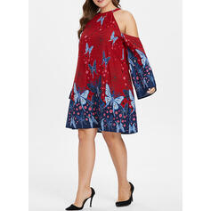 Print/Floral Flare Sleeves/Cold Shoulder Sleeve Shift Above Knee Casual/Vacation/Plus Size Dresses