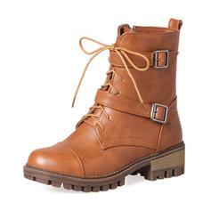 Femmes Similicuir Talon bottier Bottes Bottes mi-mollets Martin bottes avec Boucle Zip Dentelle chaussures