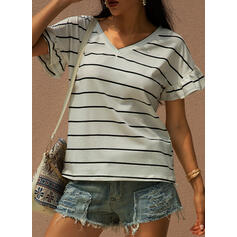 Striped V-Neck Short Sleeves Casual T-shirts