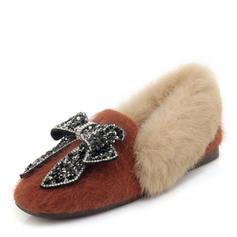 Femmes Suède Talon plat Chaussures plates Mary Jane avec Strass Bowknot chaussures