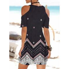 Print Short Sleeves/Cold Shoulder Sleeve Sheath Above Knee Casual/Boho/Vacation Dresses