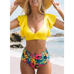 Nadruk Dekolt w kształcie litery V Cygański Ładny Bikini Stroje kąpielowe