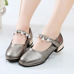 Mädchens funkelnden Glitter Flache Ferse Geschlossene Zehe Flache Schuhe mit Nachahmungen von Perlen Klettverschluss