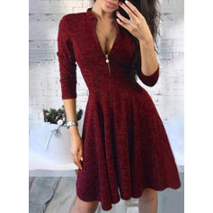 Solid 3/4 Sleeves A-line Above Knee Vintage/Casual Dresses