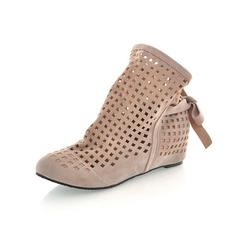 Femmes Suède Talon plat Bottes avec Bowknot Ouvertes chaussures