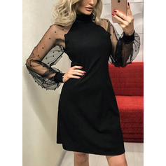 Solid Long Sleeves A-line Above Knee Vintage/Little Black/Casual/Party/Elegant Dresses