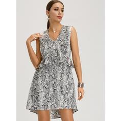 Animal Print Sleeveless A-line Above Knee Casual/Boho/Vacation Dresses