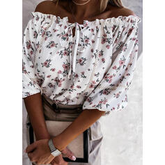 Print Floral Lace Off the Shoulder 3/4 Sleeves Raglan Sleeve Casual Blouses