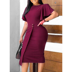 Solid Short Sleeves/Flare Sleeves Bodycon Pencil Party/Elegant Midi Dresses
