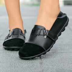 Women's Suede PU Flat Heel Flats With Buckle shoes