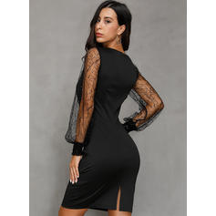 Lace/Solid Long Sleeves Sheath Above Knee Little Black/Party/Elegant Dresses