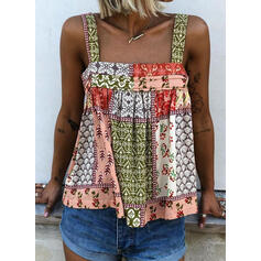 Print Floral Strap Sleeveless Casual Tank Tops