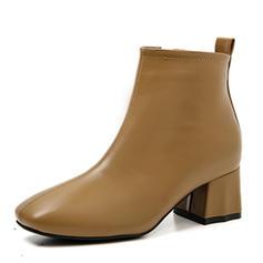 Femmes PU Talon bottier Escarpins Bout fermé Bottes Bottines Bottes mi-mollets avec Zip chaussures