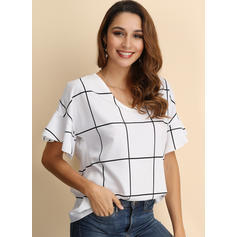 Print V Neck Flare Sleeve Short Sleeves Casual Blouses