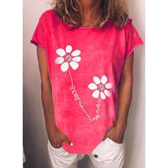 Fleurie Imprimé Letter Col Rond Manches Courtes T-shirts