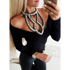 Solid Long Sleeves Casual Sexy Knit Blouses